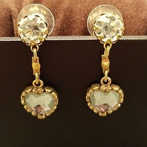 Betsey Johnson Gold & Crystal Heart Earrings